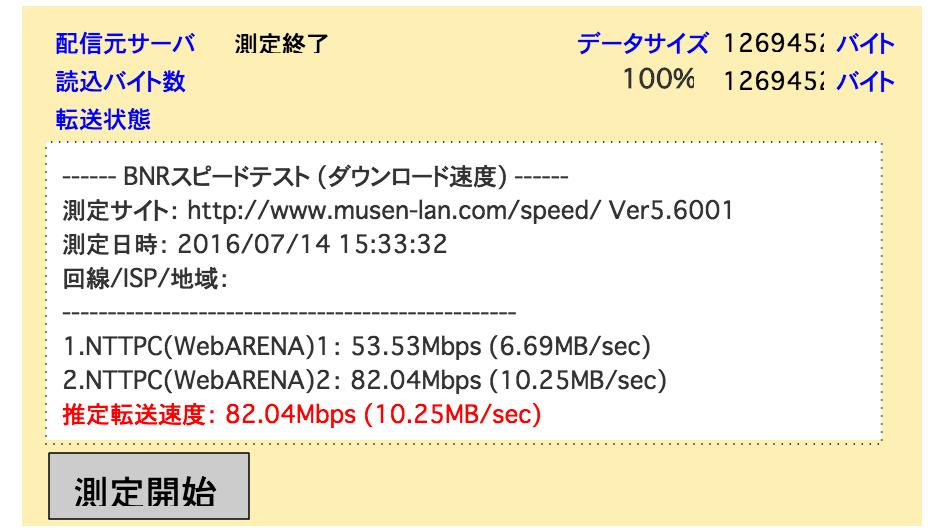 インターネット回線の速度を測定