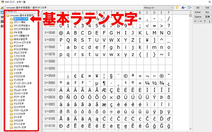 IMEパッドの文字一覧/基本ラテン文字