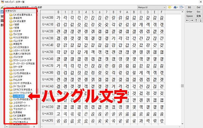 IMEパッドの文字一覧/ハングル文字