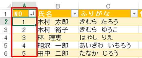 Excel基本編〜レッスン2:仕事で使う顧客名簿を作成する〜連番を振った列で並べ替える