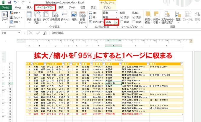 Excel基本編〜失敗しない印刷テクニック〜拡大/縮小の倍率を設定してシートを1ページに印刷する