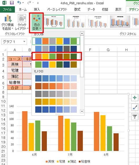 Excel基本編〜基本のグラフを作成する〜配色を変更する