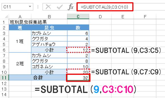 Excel関数編【SUBTOTAL】小計を除外した合計を求める