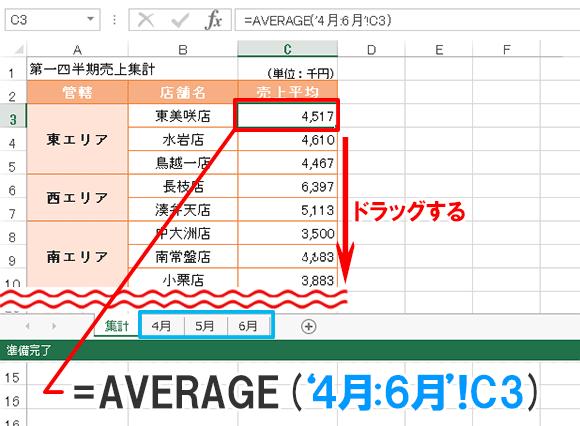 Excel関数編【AVERAGE】平均値を求める〜月別の売上シートから四半期の売上平均を求める〜