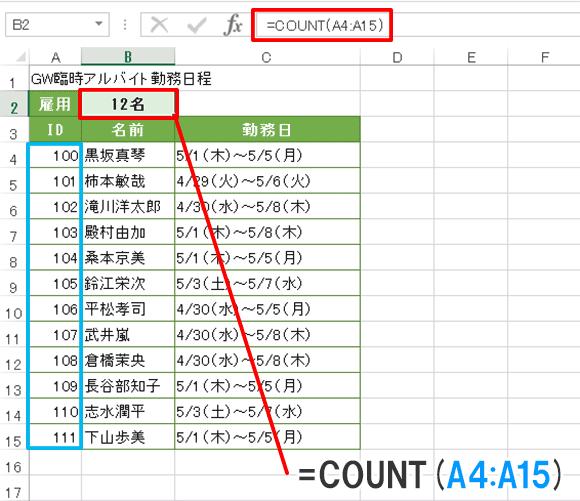 Excel関数編【COUNT】数値のセルの個数を求める