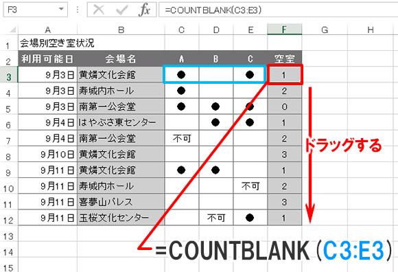 Excel関数編【COUNTBLANK】空白セルの個数を求める