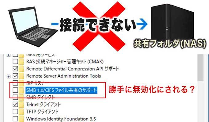Windows10アップデート後に共有フォルダ/NASが見えない!!接続できない!!SMBv1の無効化が原因
