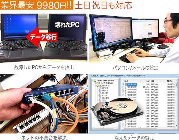 出張パソコンサポート・パソコン修理・データ復旧・ITサポート【即日訪問】